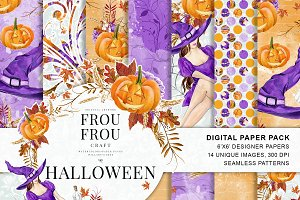 Watercolor Halloween Paper Pack