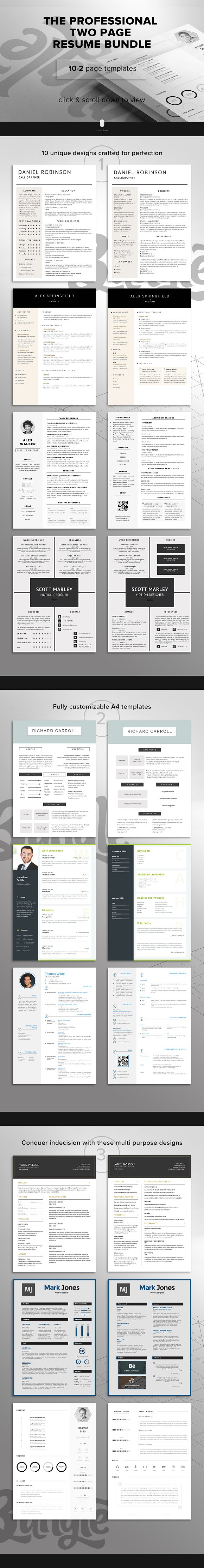 professional 2 page resume bundle resume templates on creative professional 2 page resume bundle resume templates on creative market