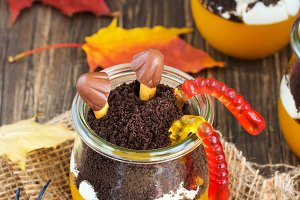 Layered halloween kids dessert