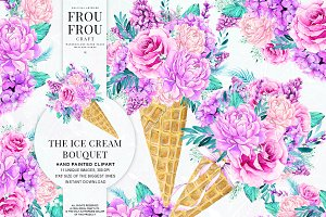 Watercolor Ice Cream Bouquet Clipart