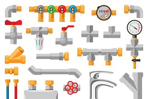Details pipes different types vector