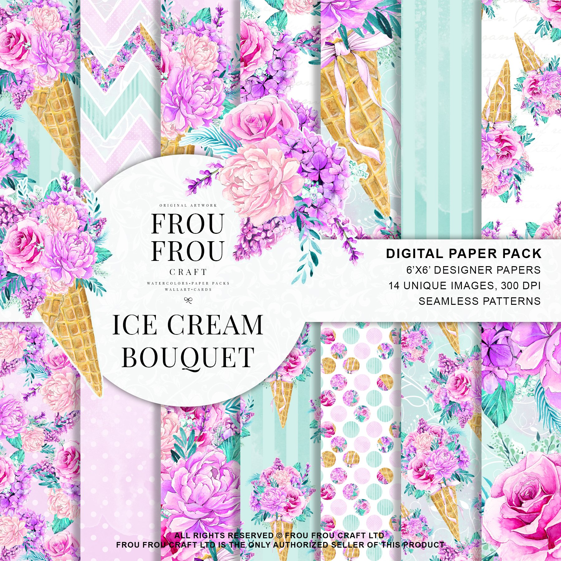 Ice cream bouquet digital paper pack patterns creative market jeuxipadfo Image collections