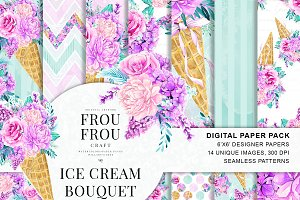 Ice Cream Bouquet Digital Paper Pack