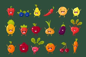 Cheerful fruit and vegetables