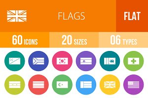 60 Flags Flat Round Icons