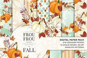 Watercolor Fall Autumn Paper Pack