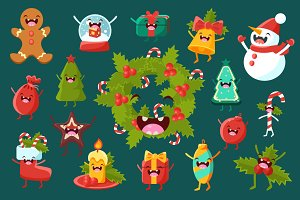 Christmas items cute faces, happy