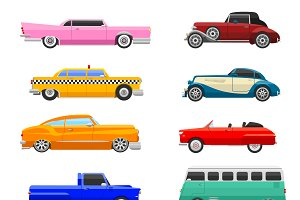 Retro cars icons vintage vector