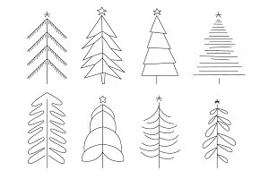 Handdrawn Christmas Trees