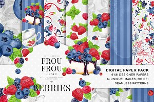 Berries Watercolor Designer Papers