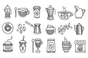 Coffee Elements Handdrawn Set