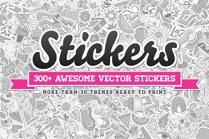 Awesome 300 Vector Stickers Set