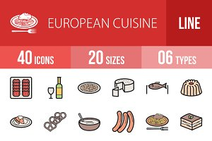 40 European Cuisine Line Filled Icon