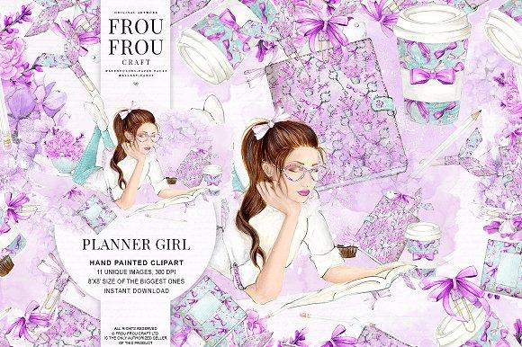 School Planner Girl Watercolor Set