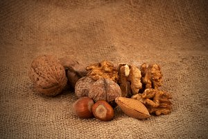 Mixed Nuts On Brown Background