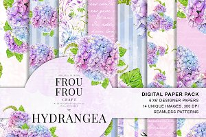 Watercolor Floral Hydrangea Patterns