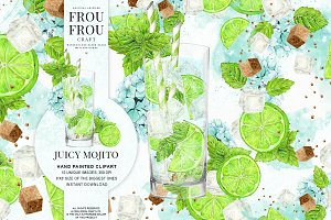 Watercolor Drinks Mojito Clipart
