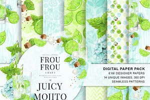 Watercolor Drinks Mojito Paper Pack