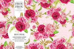Watercolor Hot Pink Flowers Clipart