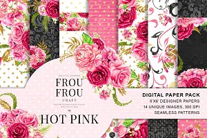 Watercolor Pink Floral Paper Pack