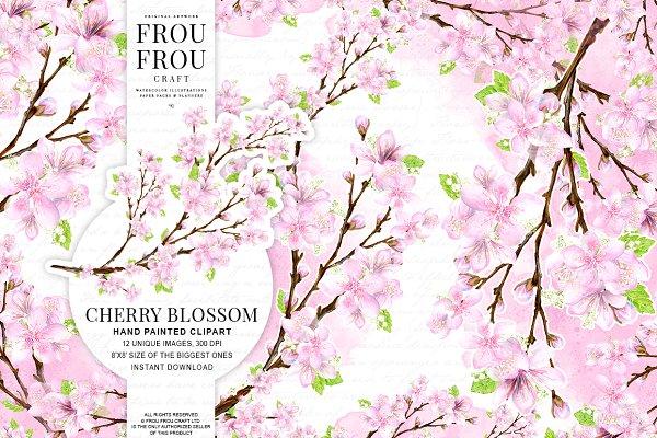 Cherry Blossom Watercolor Clipart