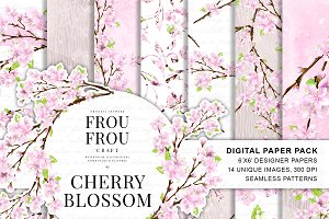 Cherry Blossom Watercolor Paper Pack