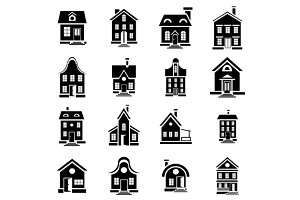 House icons set in simple style