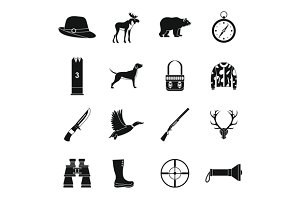 Hunting icons set, simple style