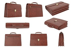 Briefcase classic brown set
