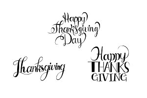 Happy Thanksgiving logo set