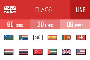 60 Flags Line Filled Icons