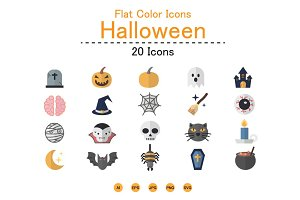 Flat Color Icons Set of Halloween