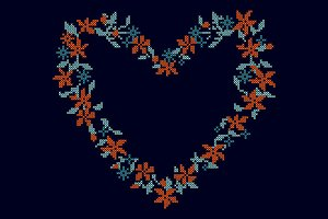 Knitted background with heart frame