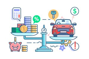 Car and money on scales