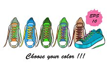 Hand drawn Sport shoes vector