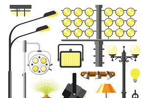 Lamps styles design vector