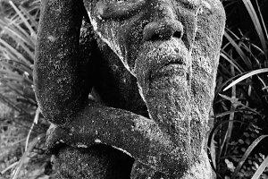 Old man, stone carving - Ubud, Bali