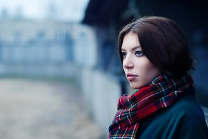 Pretty brunette in a scarf