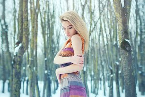 a frozen girl in the woods