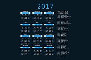 2017 Calendar Templates