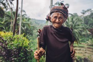 Old woman with beautiful smile
