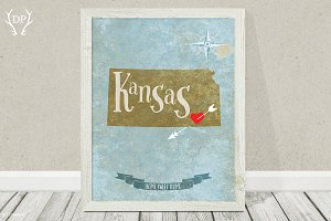 Kansas state printable wall art