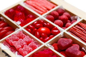 Candy assortment in a wooden box