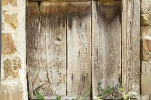 Vintage old wooden gate closed