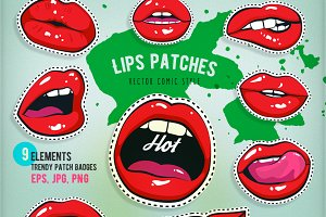 Patch collection girl lips and other
