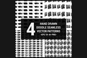 4 Hand drawn seamless patterns set 1