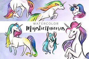Majestic Unicorns Clipart Set