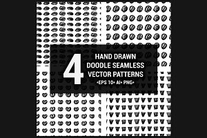 4 Hand drawn seamless patterns set 2