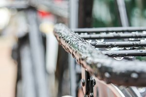 Closeup of black bike on street