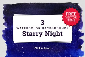 3 Watercolor Textures Starry Night
